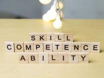 Правомочность способности навыка, концепция цитат слов дела стоковое фото rf