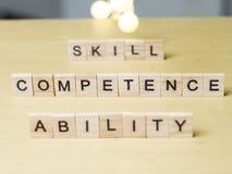 Правомочность способности навыка, концепция цитат слов дела стоковое изображение rf