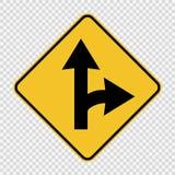 Правоповоротный разделенный знак на прозрачной предпосылке иллюстрация вектора