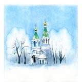 Православная церков церковь зимы типичная стоковое изображение rf