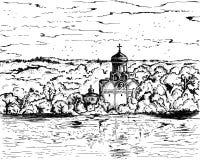 Православная церков церковь черно-белого русского иллюстрации эскиза христианская в деревне Ландшафт панорамы с старой Стоковое Изображение
