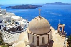 Православная церков церковь St. John на Fira, Santorini Стоковые Фотографии RF