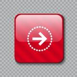право иконы стрелки Лоснистая красная кнопка также вектор иллюстрации притяжки corel иллюстрация штока