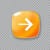 право иконы стрелки Лоснистая оранжевая кнопка также вектор иллюстрации притяжки corel Стоковое фото RF