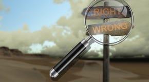Право - неправильное иллюстрация вектора