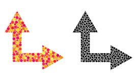 Право стрелки развилки пиксела вверх по значкам мозаики иллюстрация штока