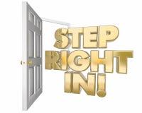 Право шага в радушной открыть двери приглашения формулирует иллюстрацию 3d иллюстрация штока