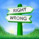 Правый или неправильный подпишите внутри поле Стоковые Изображения