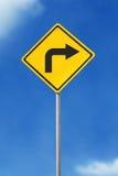 правый поворот дорожного знака Стоковое Фото