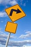 правый поворот знака стоковая фотография