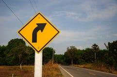 правый поворот знака Стоковые Изображения