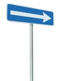 Правый указатель поворота знака направления трассы движения только, синь изолировал перспективу signage обочины, белый значок стр Стоковые Фотографии RF
