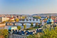 Прага на заходе солнца Стоковые Изображения