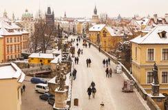 Прага на зимнем времени Стоковые Изображения