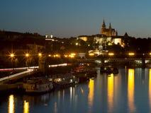 Прага на ноче Стоковая Фотография RF