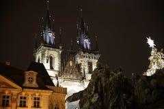 Прага на ноче Стоковая Фотография