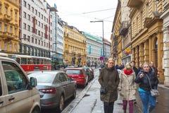 25 01 2018 Прага, чехия - взгляд к улице в старой Стоковая Фотография RF