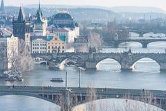 ПРАГА, ЧЕХ - 14-ОЕ МАРТА 2016: Городской пейзаж Праги с рекой и Карловым мостом Lvtana Лебедь летания в предпосылке Стоковое Изображение RF