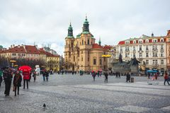 25 01 2018 Прага, чех Respublic - церковь St Nicholas в o Стоковая Фотография RF