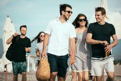 праздники, каникулы группа в составе друзья имея потеху на пляже, идти, пиве питья, усмехаться и обнимать стоковая фотография rf