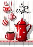 Праздники повод, украшения рождества с красным цветом поставили точки бак кофе и чашка, иллюстрация Стоковая Фотография RF