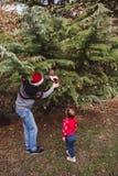 праздники рождества счастливые веселые Отец в красной шляпе и дочери рождества в красном свитере украшая рождественскую елку на о стоковое фото