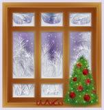 Праздник заморозил окно с деревом xmas, вектором иллюстрация штока