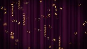 Праздник, масленица, праздничные золотые курчавые ленты, яркие серпентины иллюстрация штока