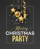 Праздник плаката с Рождеством Христовым Наградная литерность каллиграфии с украшением орнамента золота золотого шарика на роскоши Бесплатная Иллюстрация
