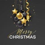 Праздник плаката с Рождеством Христовым Наградная литерность каллиграфии с украшением орнамента золота золотого шарика на роскоши Иллюстрация вектора