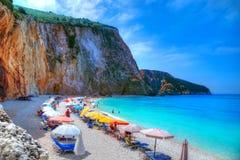 Праздник пляжа в лефкас - Греции Стоковая Фотография