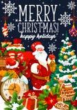 Праздник Санта рождества и подарки кладут в мешки, вектор иллюстрация вектора