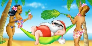 праздник santa claus Гавайских островов иллюстрация вектора