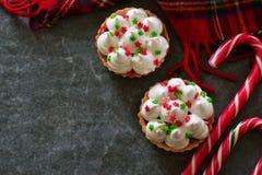 Праздник, tartlets рождества с меренгой Стоковая Фотография