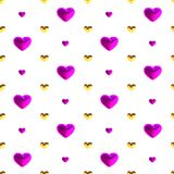 Праздничная безшовная картина с золотом и фиолетовые сердца на белом фоне, векторе Оформление для свадьбы, день рождения, ` s d в Стоковые Изображения RF