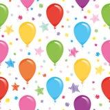 Праздничная безшовная картина с красочными воздушными шарами и confetti Для дня рождения, детский душ, дизайн праздников Стоковые Фотографии RF