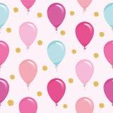 Праздничная безшовная картина с красочными воздушными шарами и confetti яркого блеска Для дня рождения, детский душ, дизайн празд Стоковые Фотографии RF