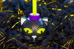 Праздничная пластиковая чашка на хеллоуин Скелет тыквы и черный кот стоковые фотографии rf