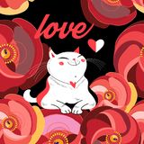 Праздничная поздравительная открытка с любимым котом иллюстрация штока