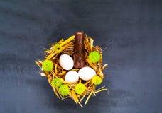 Праздничная предпосылка пасхи Белые яйца с зайцами шоколада на текстуре соломы с цветками весны стоковые фотографии rf