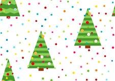 Праздничная предпосылка с confetti Безшовная картина с желтыми звездами и рождественской елкой Дизайн зимних отдыхов Tre рождеств Стоковая Фотография
