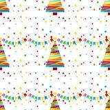 Праздничная предпосылка с confetti Безшовная картина с желтыми звездами Стоковые Изображения RF