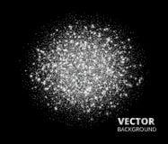 Праздничная серебряная предпосылка искры, круг яркого блеска Vector пыль, диаманты, снег на черноте Стоковые Фотографии RF
