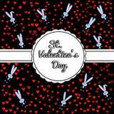 Праздничная черная предпосылка с милым серым зайчиком и confetti от красных теней сердец Круглая высекаенная бирка с белизной иллюстрация вектора