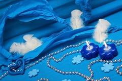 Праздничное голубое украшение предпосылки Стоковая Фотография