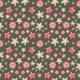 Праздничное рождество и Новые Годы предпосылки Безшовная картина с орнаментами пряника в скандинавском стиле бесплатная иллюстрация