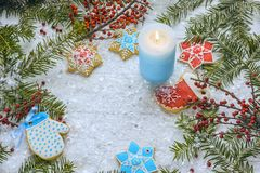 Праздничное рождество, хранитель экрана ` s Нового Года, открытка, предпосылка Стоковые Фото