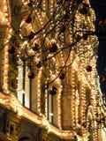 Праздничные освещения в улицах города Рождество в Москве, России красный квадрат Стоковое Изображение