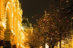 Праздничные освещения в улицах города Рождество в Москве, России красный квадрат Стоковое Изображение RF