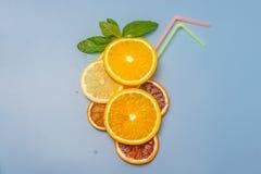 Праздничный коктеил Модель коктеиля цитрусовых фруктов Апельсины, лимоны, мята Tubules для коктеилей background card congratulati стоковые фотографии rf